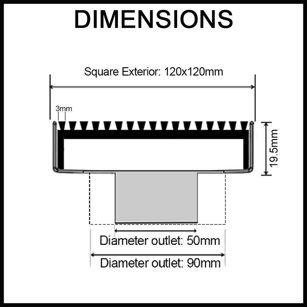 black wedge wire floor waste dimensions