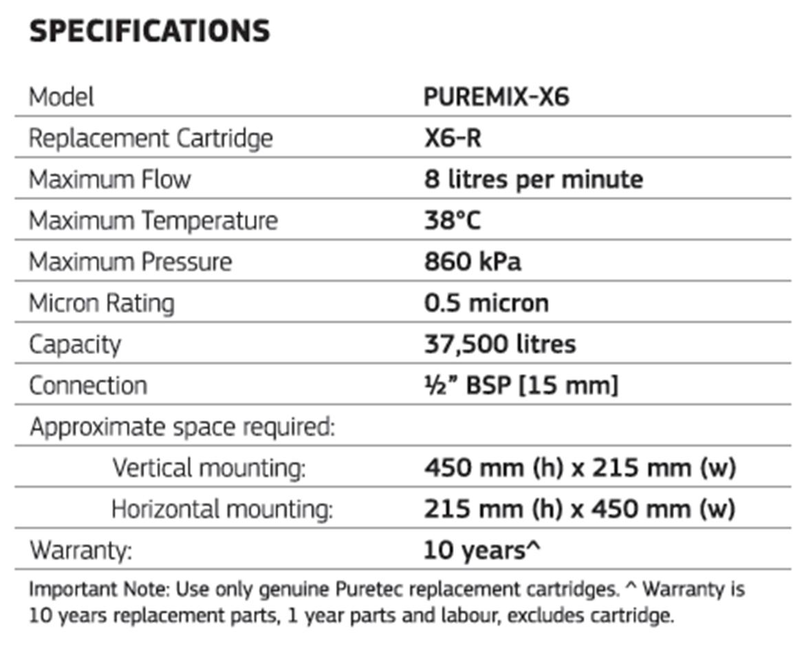 Puretec Puremix X6 High Flow Filter - Specifications