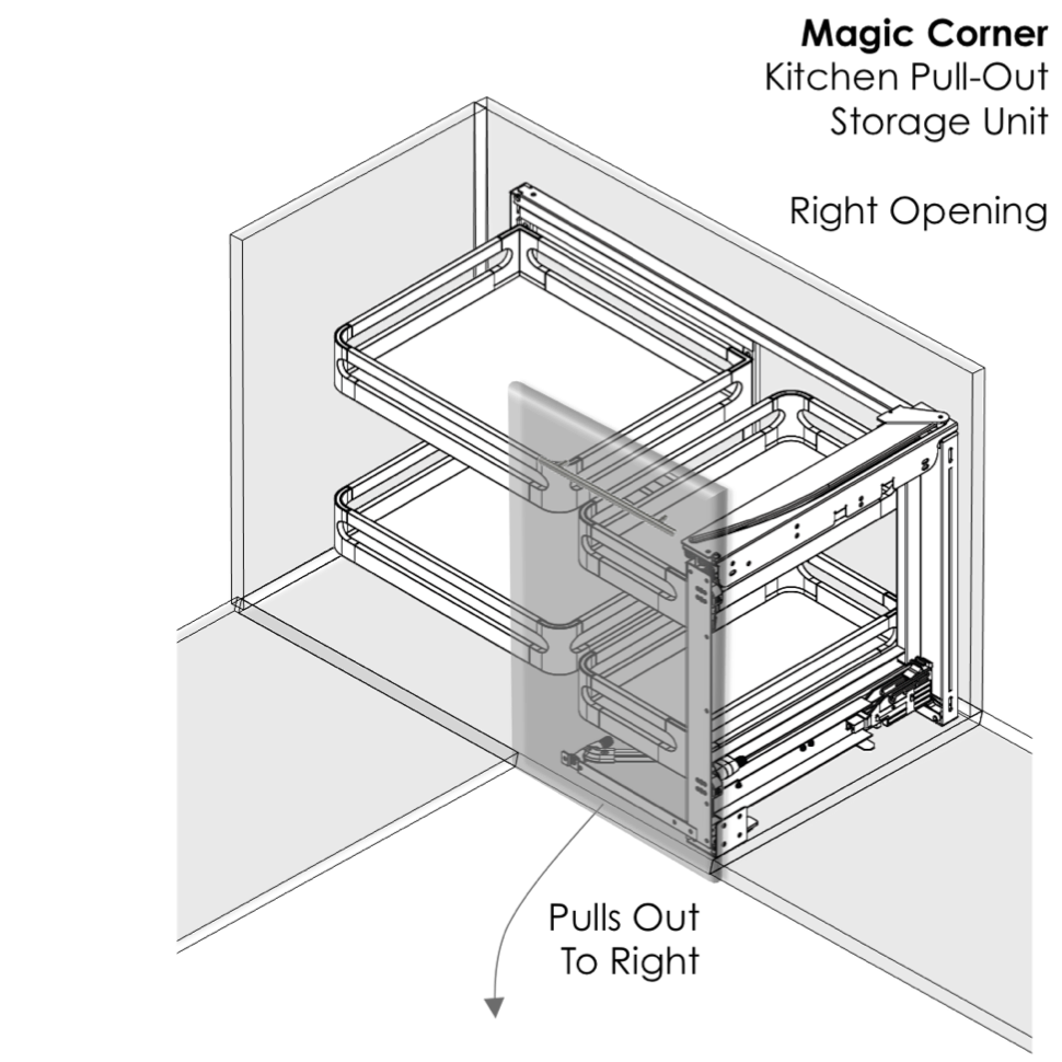 Magic corner kitchen storage - right