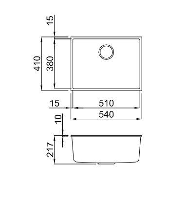 Ytalo-105u-Black-Granite-Sink-Diagram