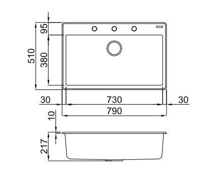 Ytalo-130-Black-Granite-Sink-Diagram