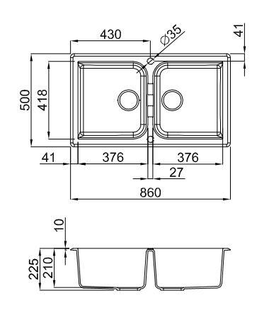 Ytalo-450-Black-Granite-Double-Bowl-Sink-Diagram