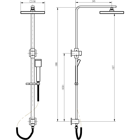 bathroom square shower handle tap with rail. Black Bedroom Furniture Sets. Home Design Ideas
