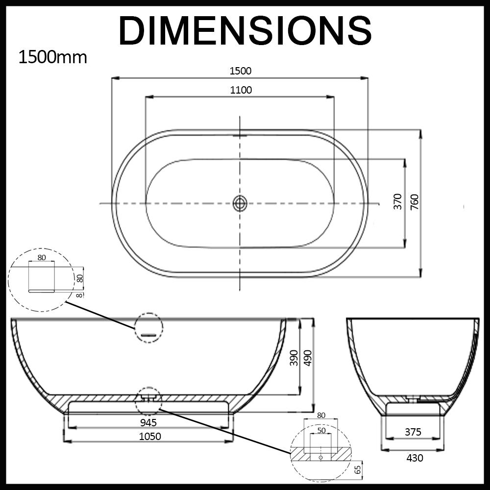 Amelia 1500mm 1700mm Matte White Oval Freestanding Stone Bath by ...