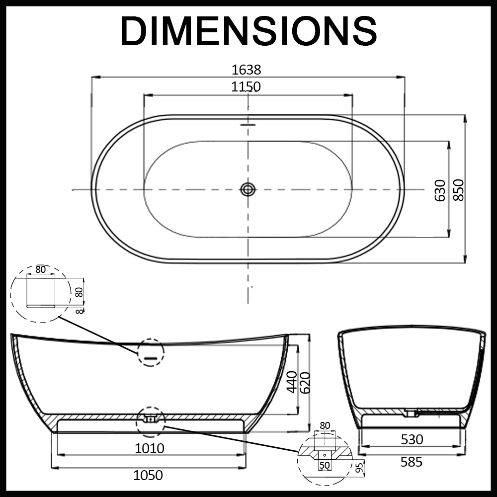 Pisa bathtub oval freestanding  dimensions