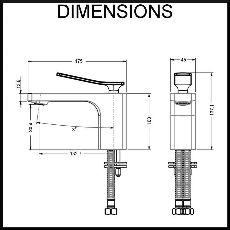 Cortina-Single-Lever-Mixer-aguzzo-dimensions