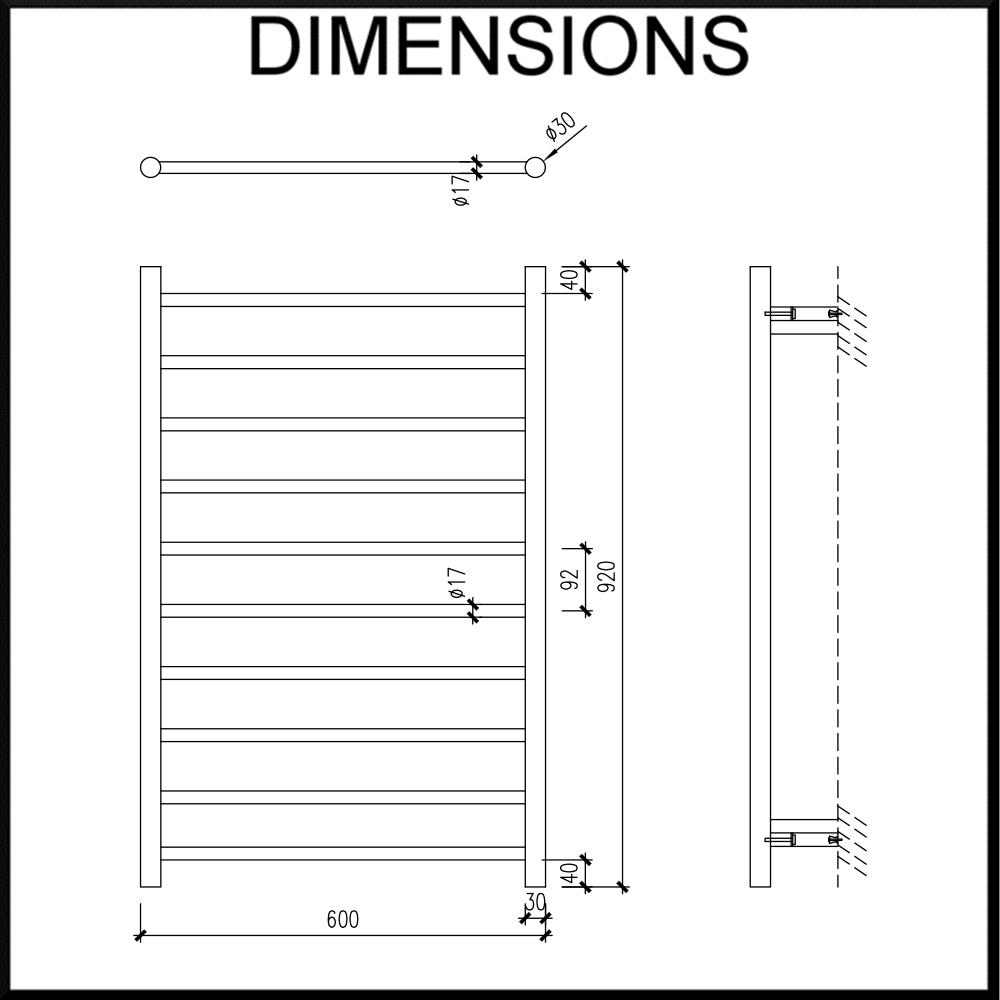 750mm wide heated towel rail dimensions