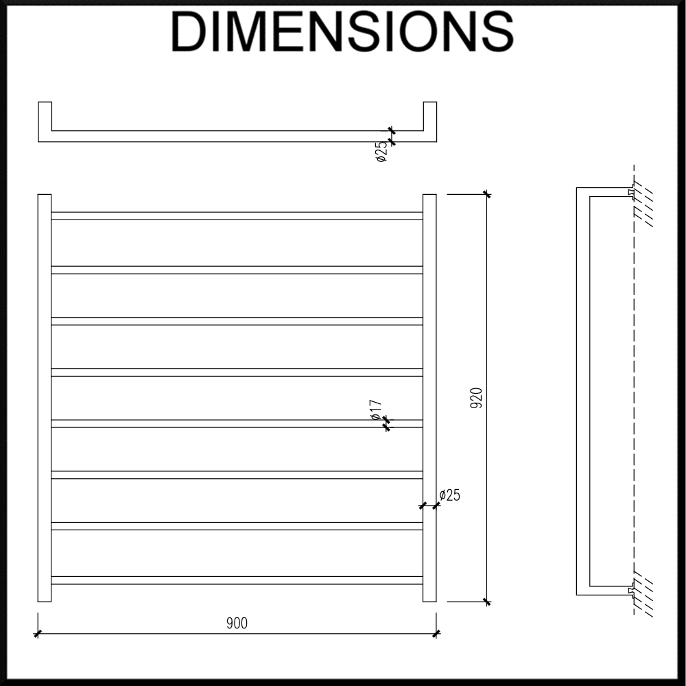 Heated Towel Rail Streamline Round Tube W900mm X H920mm Stainless St Warmer Wiring Diagram Double
