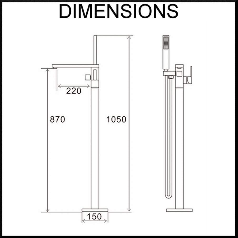 Floor Standing Bath Spout, Mixer and Hand Shower Unit