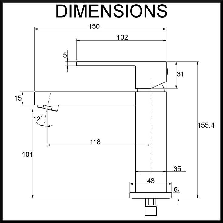 quadro basin mixer dimensions