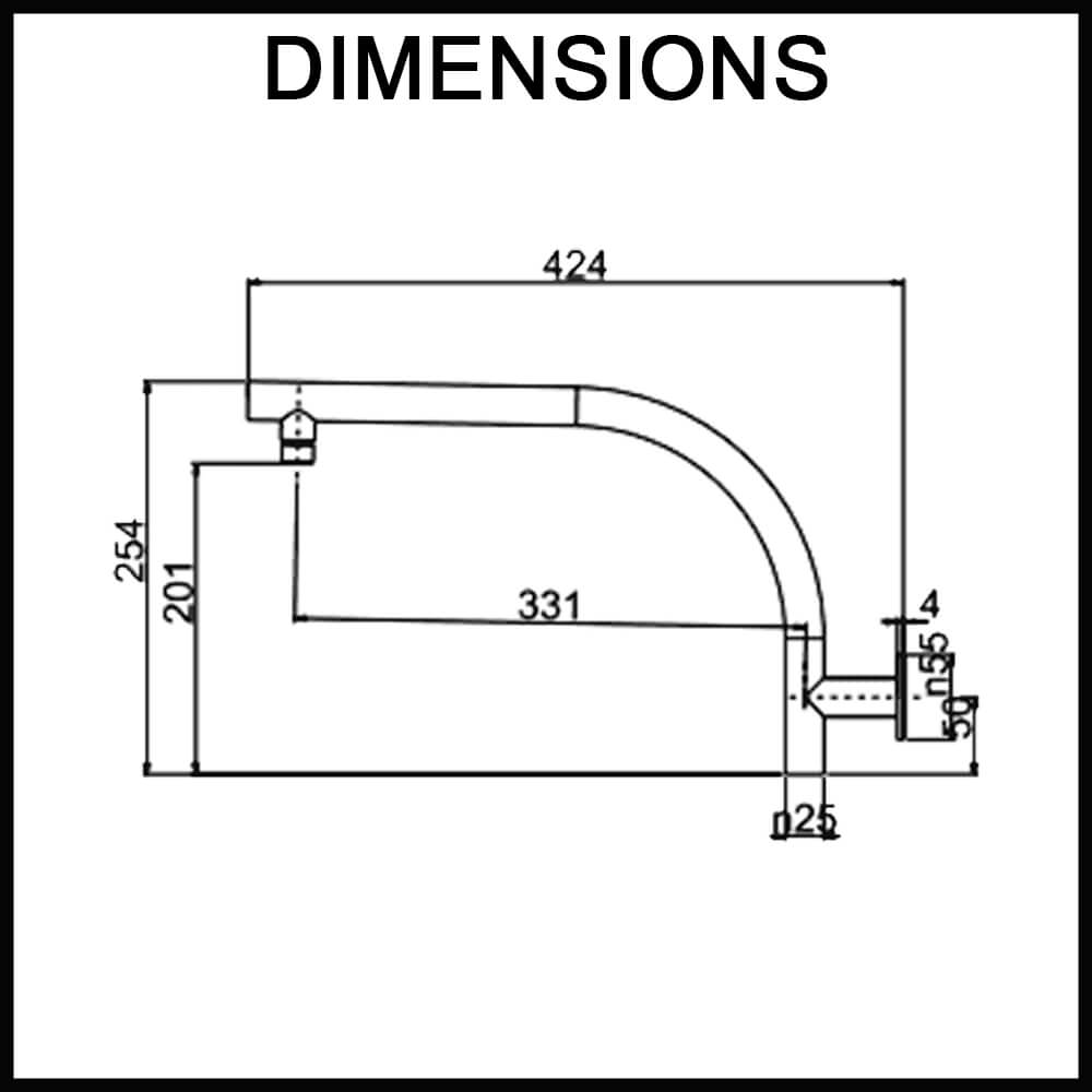 Dimensions for Echo Round Wall-Mounted Swivel Shower Arm Matte Black