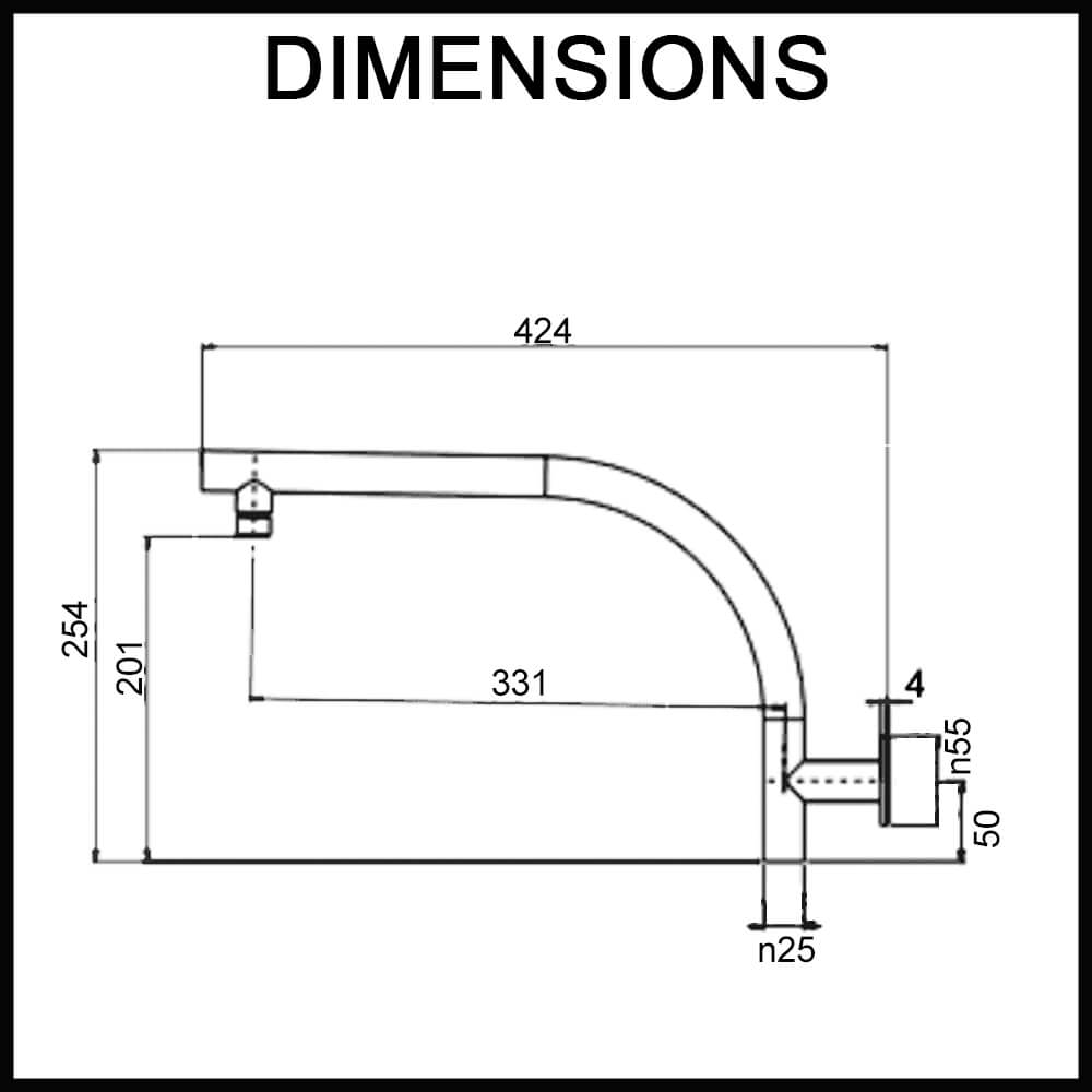 Dimensions for Echo Round Wall-Mounted Swivel Shower Arm Chrome