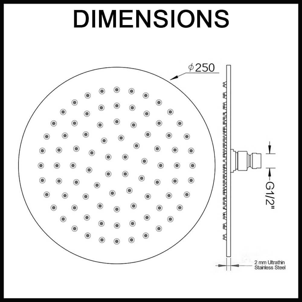 Super-Slim_Round_Chrome_Rainfall_Shower_Head_250mm_dimensions