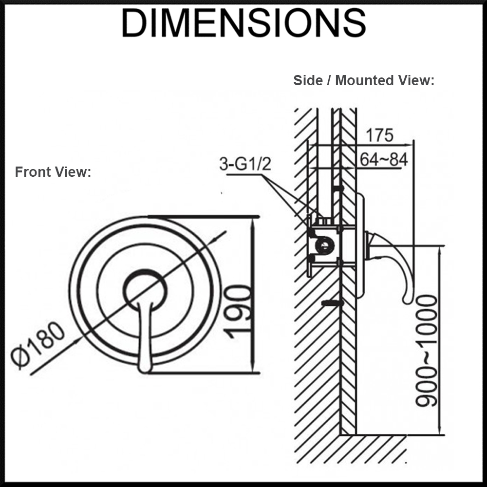 fluid-shower-mixer-dimensions