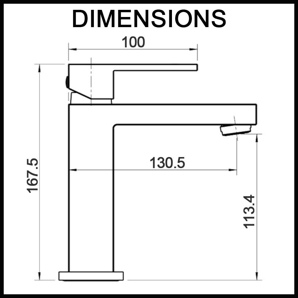 Essato basin mixer 25mm dimensions