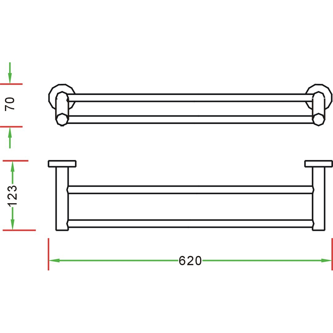 towel rail angled 2 bathroom dimensions