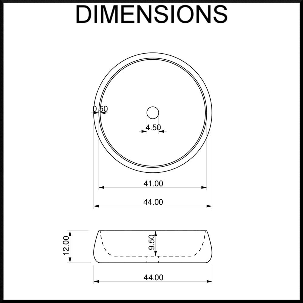 Moku Limestone Round Bathroom Basin Dimensions