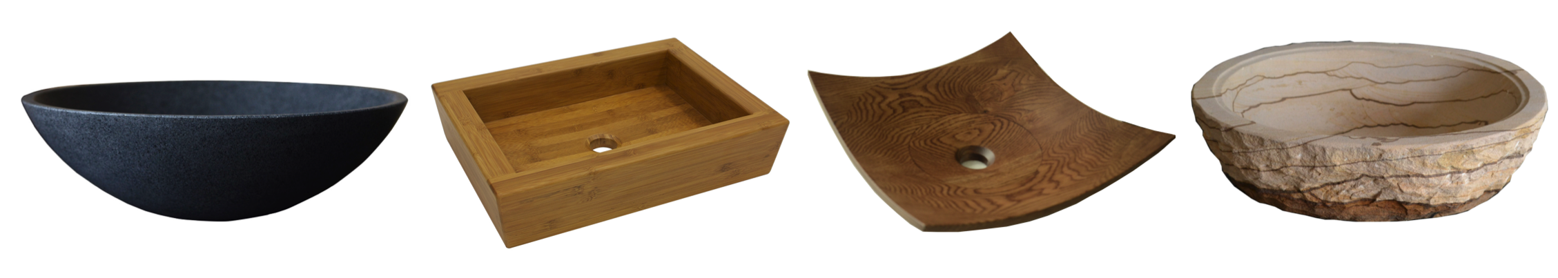 moku stone basins and wooden basins