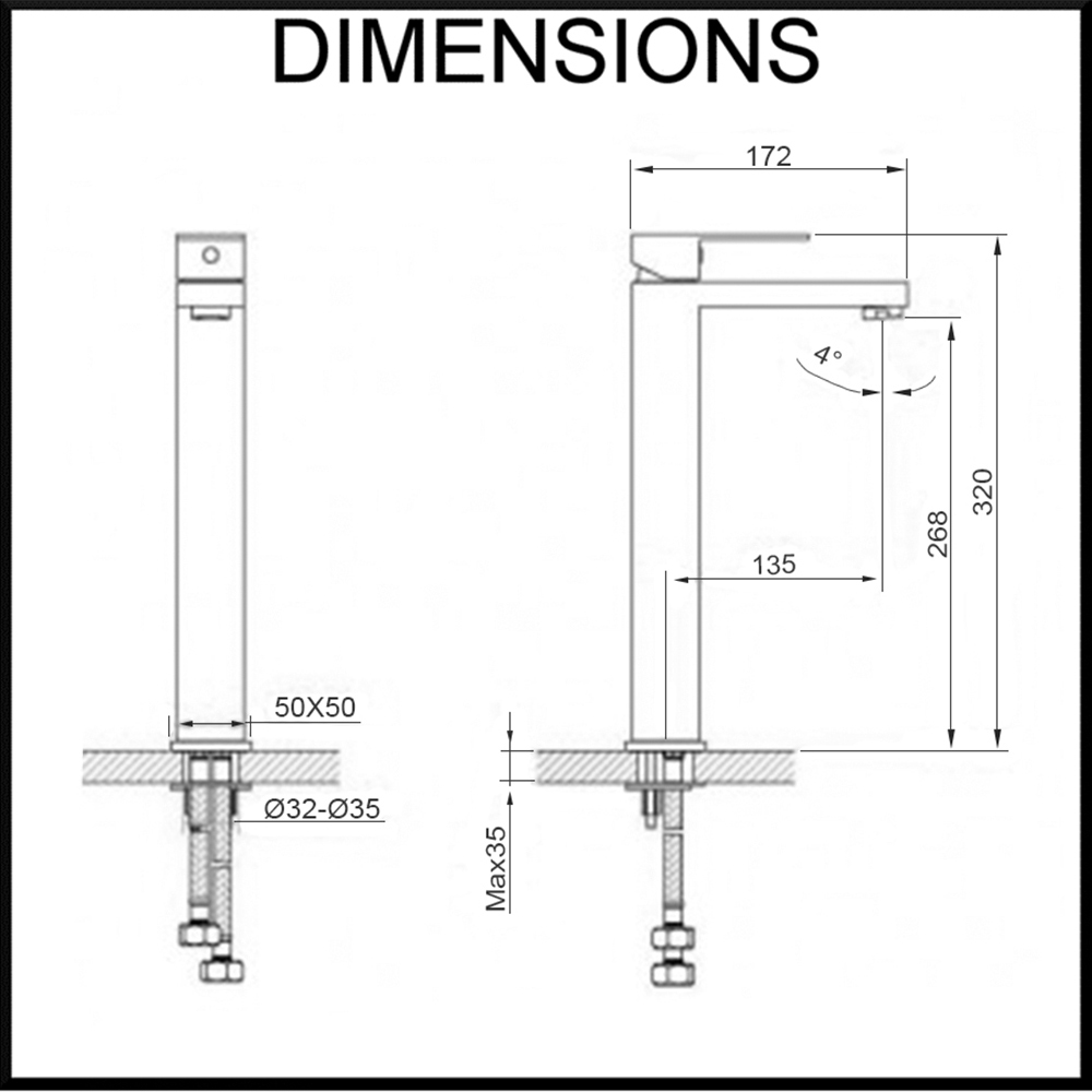 thames tall basin mixer dimensions diagram