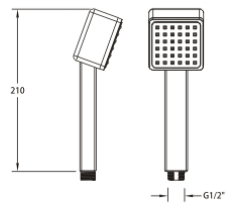 Vale square twin shower rail set dimensions