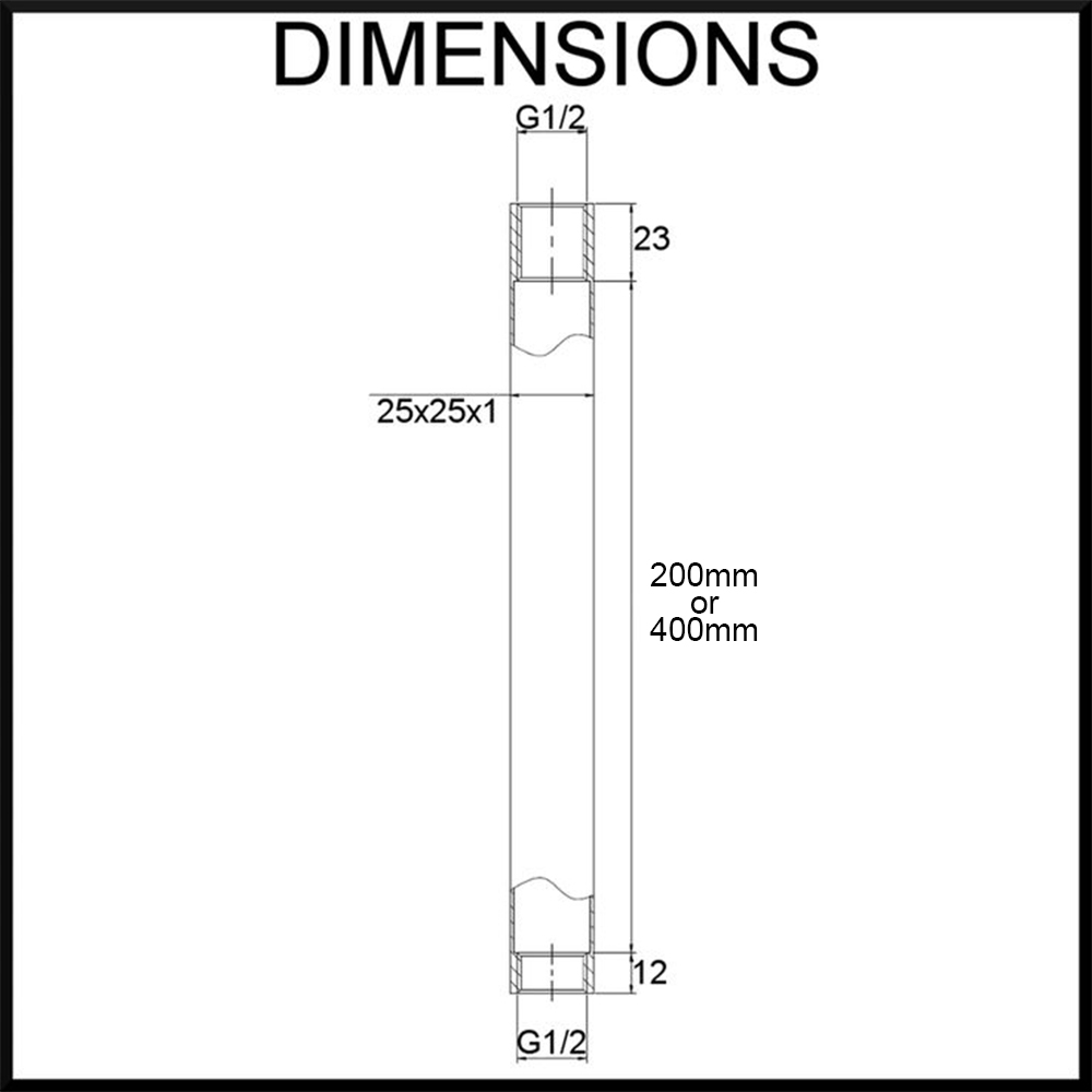 Vale matte black ceiling mounted square shower arm dimensions