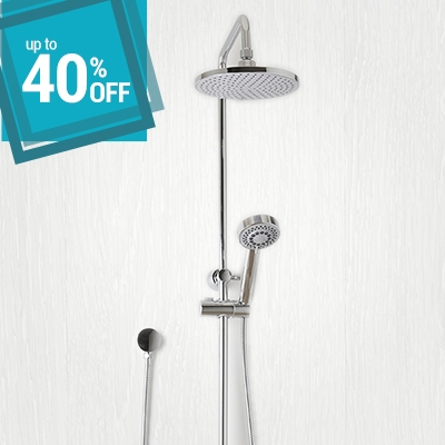 up to 40% off on shower sets with shower head, shower arm, shower rail
