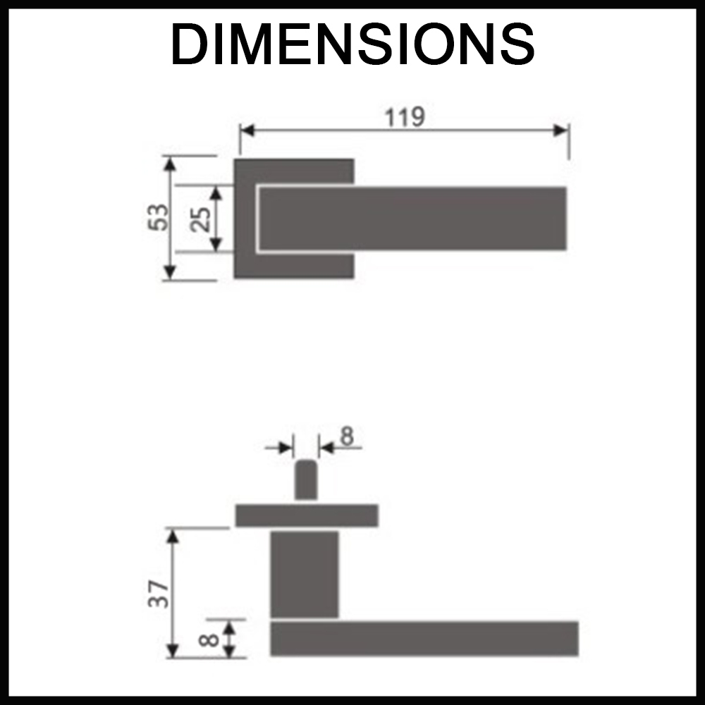 Zara handle dimensions