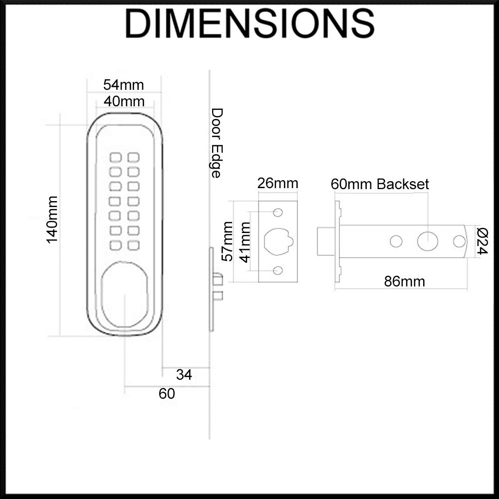 KAS digital mechanical door lock dimensions