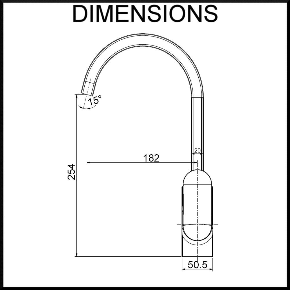 arche kitchen tap dimensions