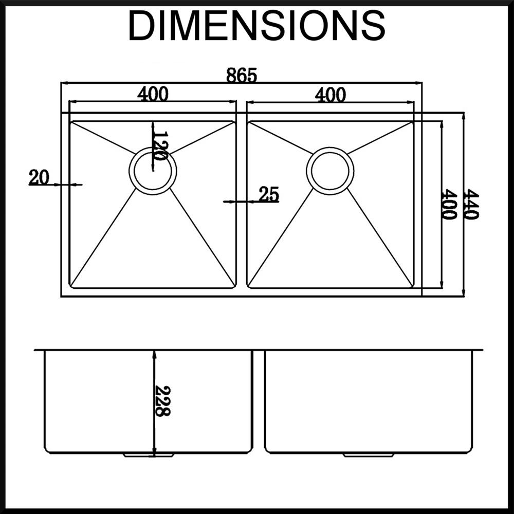 Kitchen Sink Sizes: HandMade Double Bowl