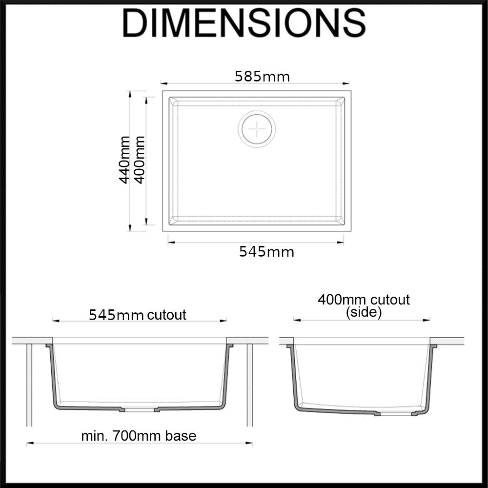 Cino sink dimensions diagram