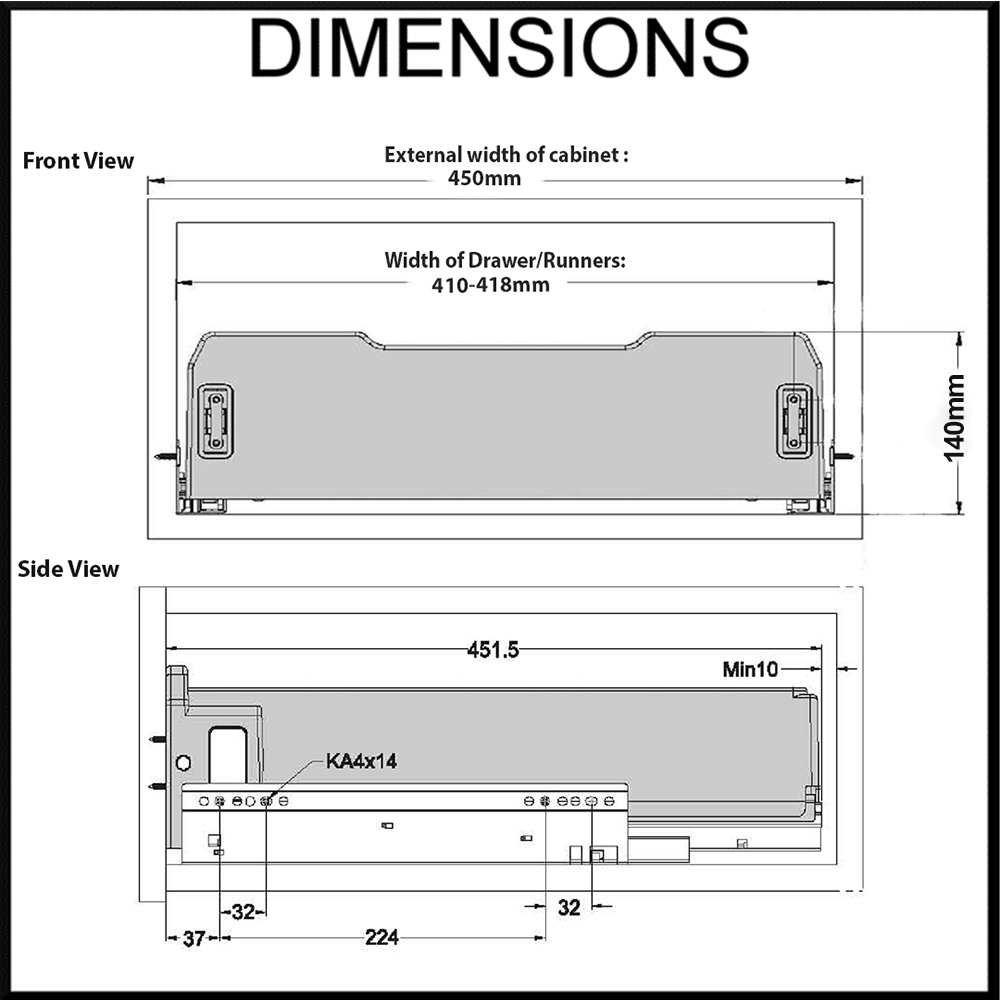 Elite 450mm dimension diagram