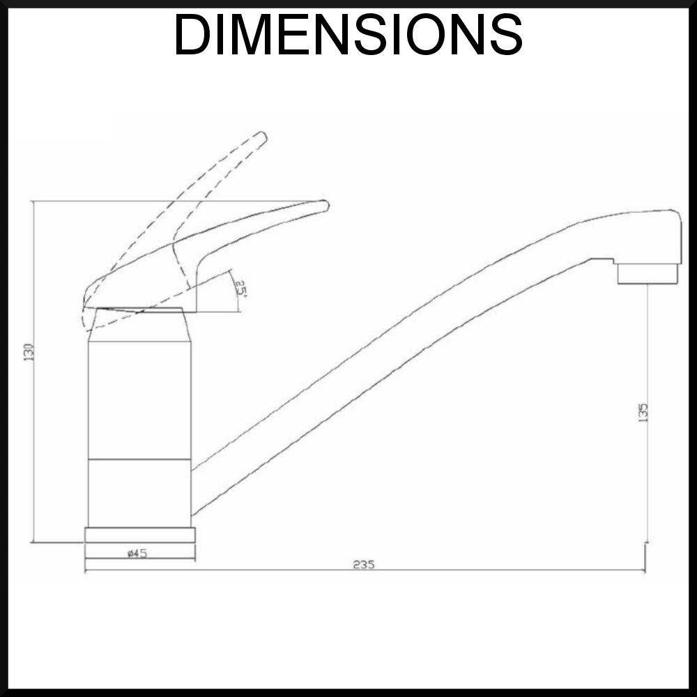 Dimensions for low kitchen tap
