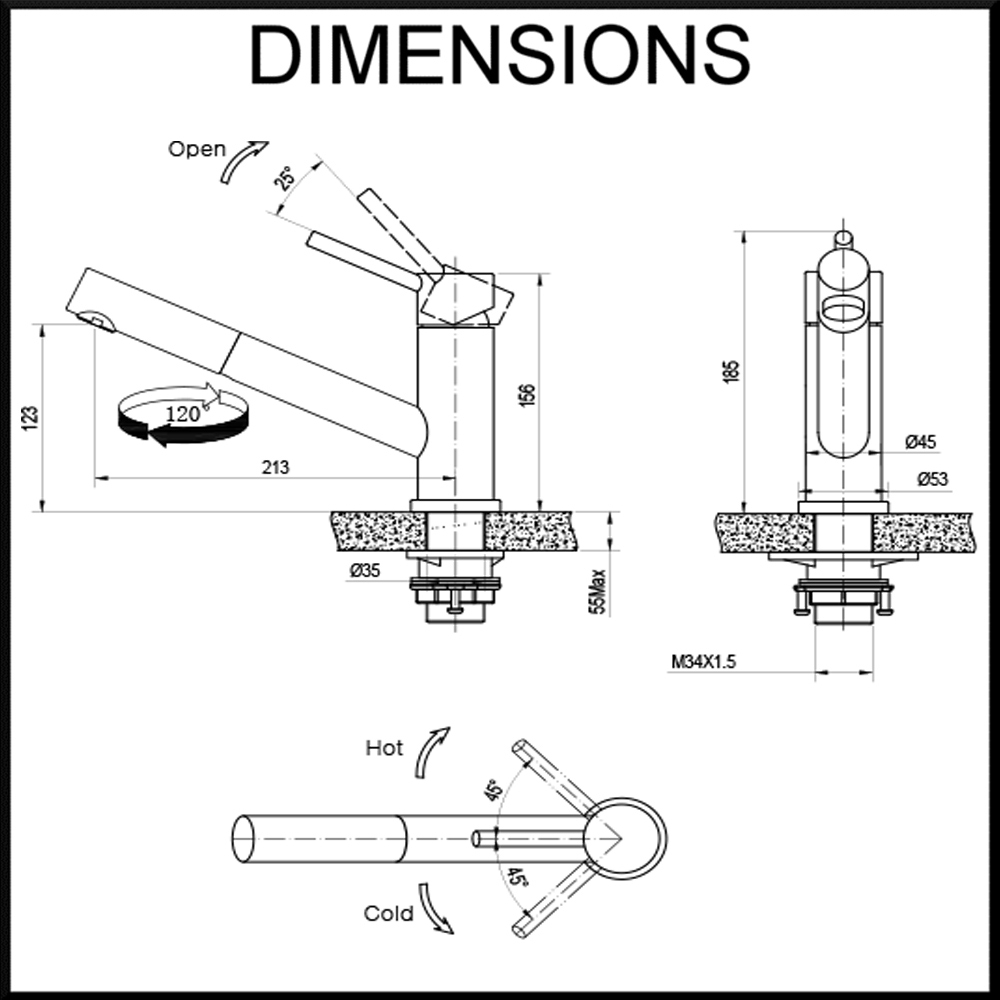 oskar-kitchen-mixer-tap--black-satin-finish-dimensions