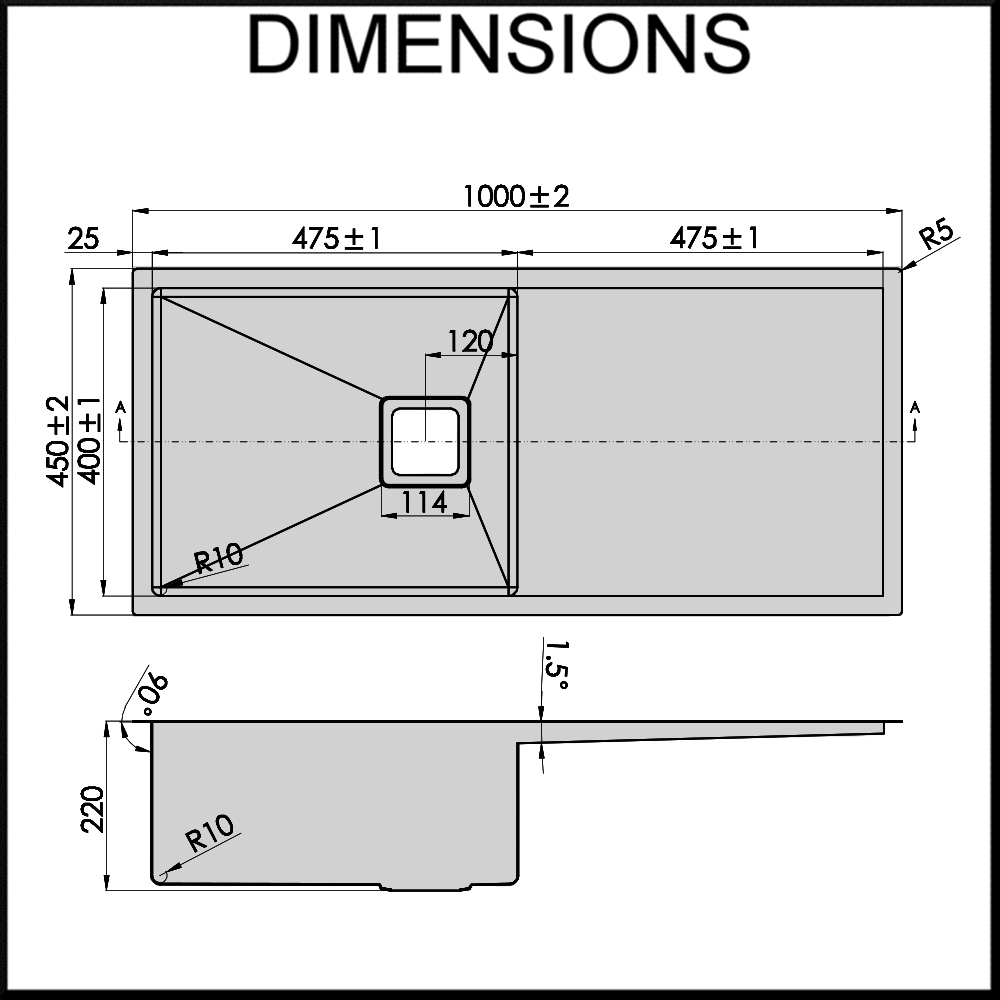 Stainless Steel Sink Dimensions : Stainless Steel Sink - 1000mm Single Bowl - 1.5mm Thick Steel - 10mm R