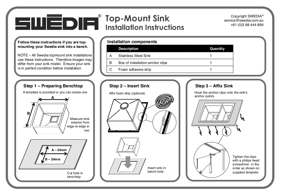 Stainless Steel Sink installation instructions - topmount