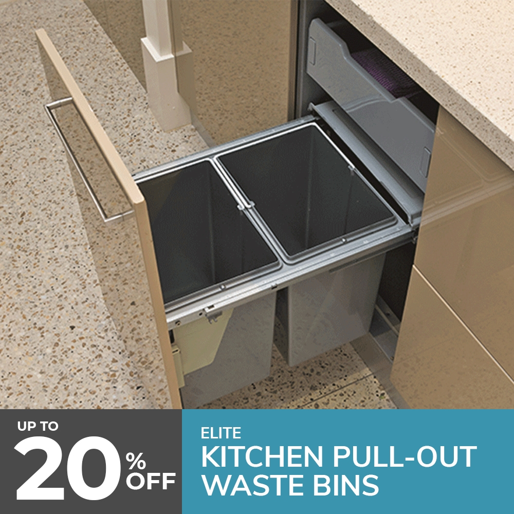 kitchen bins, pull-out waste bins, concealed bins