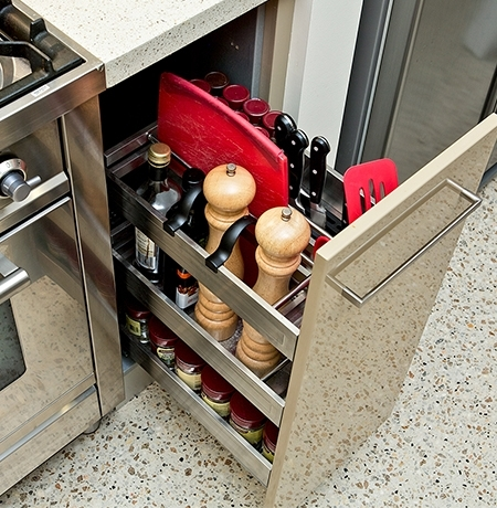 kitchen pull-out cupboard organiser