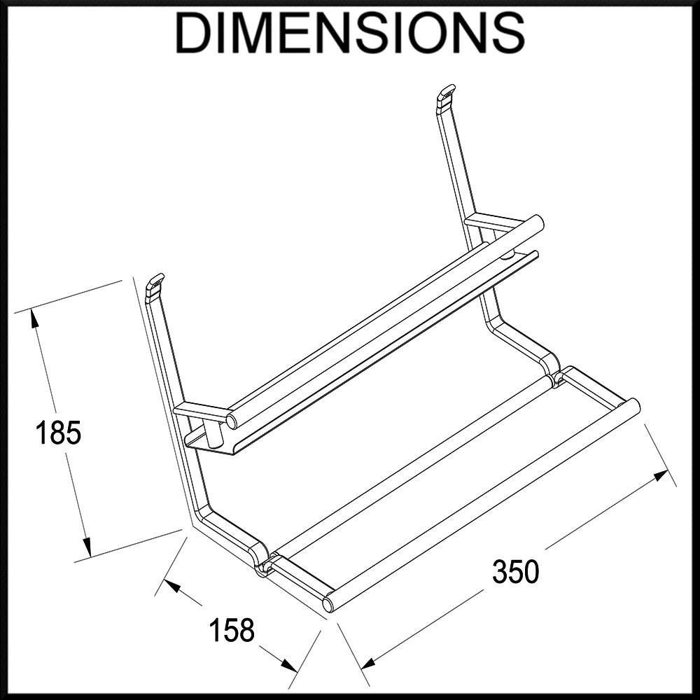 spice rack and tissue holder dimensions