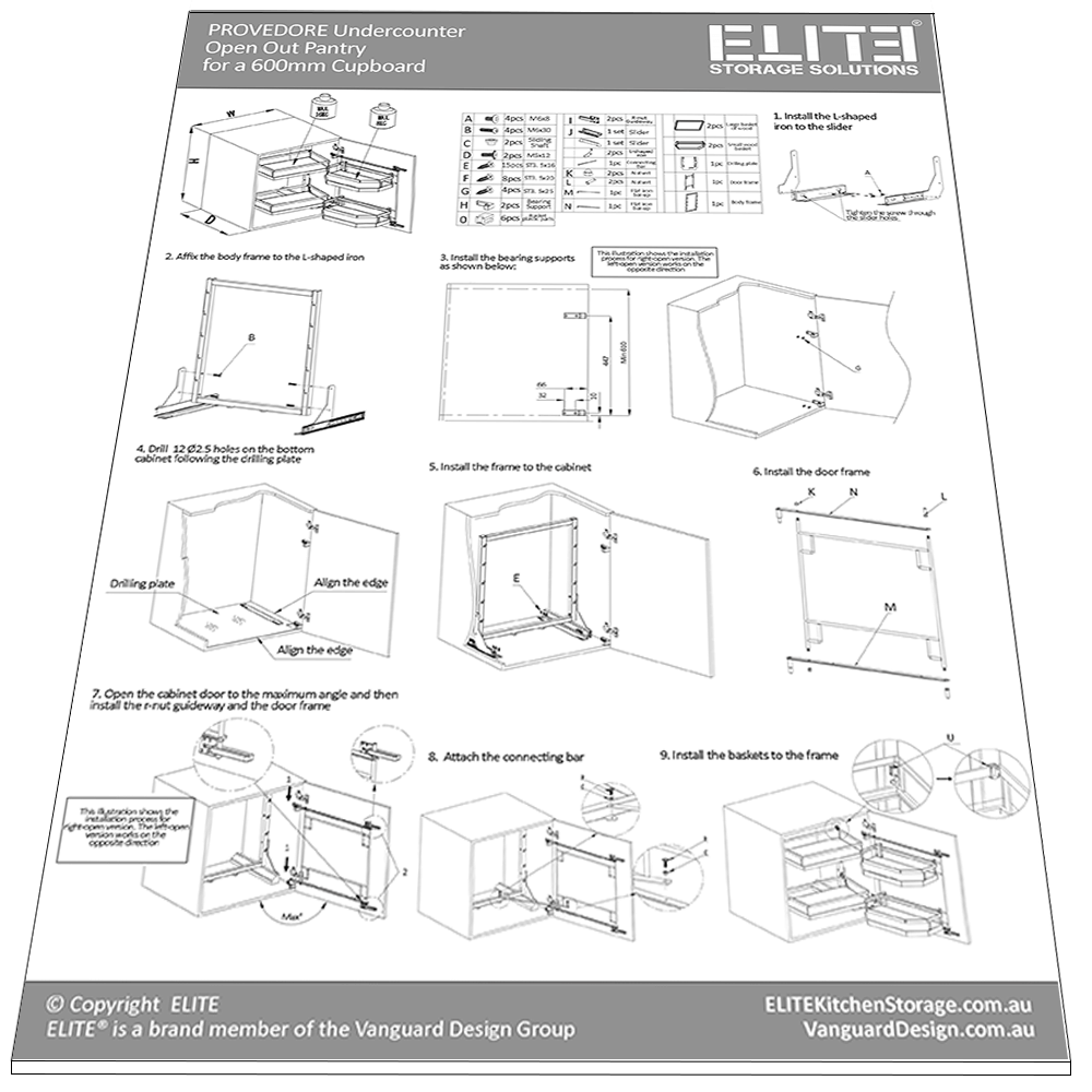installation guide for small open out pantry 2 layer baskets