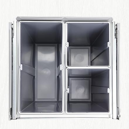 kitchen bin, waste bin, concealed bin, concealed waste bin, pull-out bin, triple pull-out bin