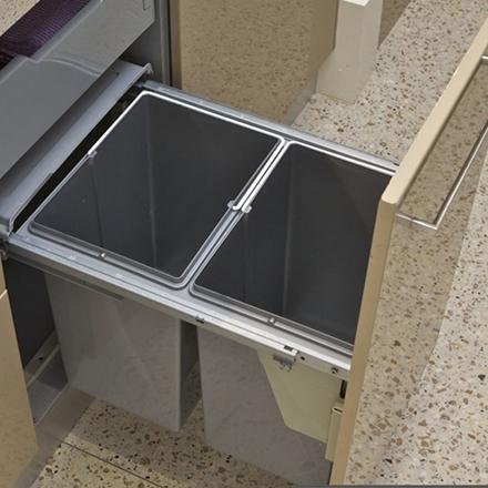 kitchen bin, waste bin, concealed bin, concealed waste bin, pull-out bin, dual pull-out bin