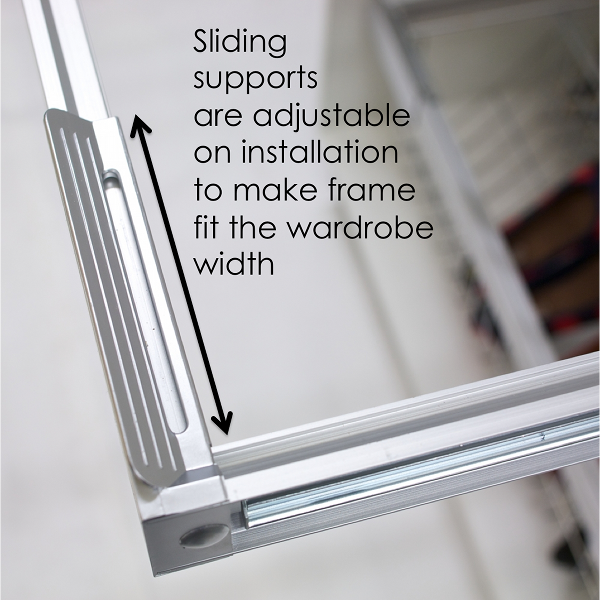 Innovative adjustable wardrobe storage frame
