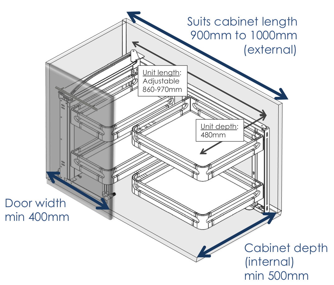 Magic corner blind cupboard storage dimensions