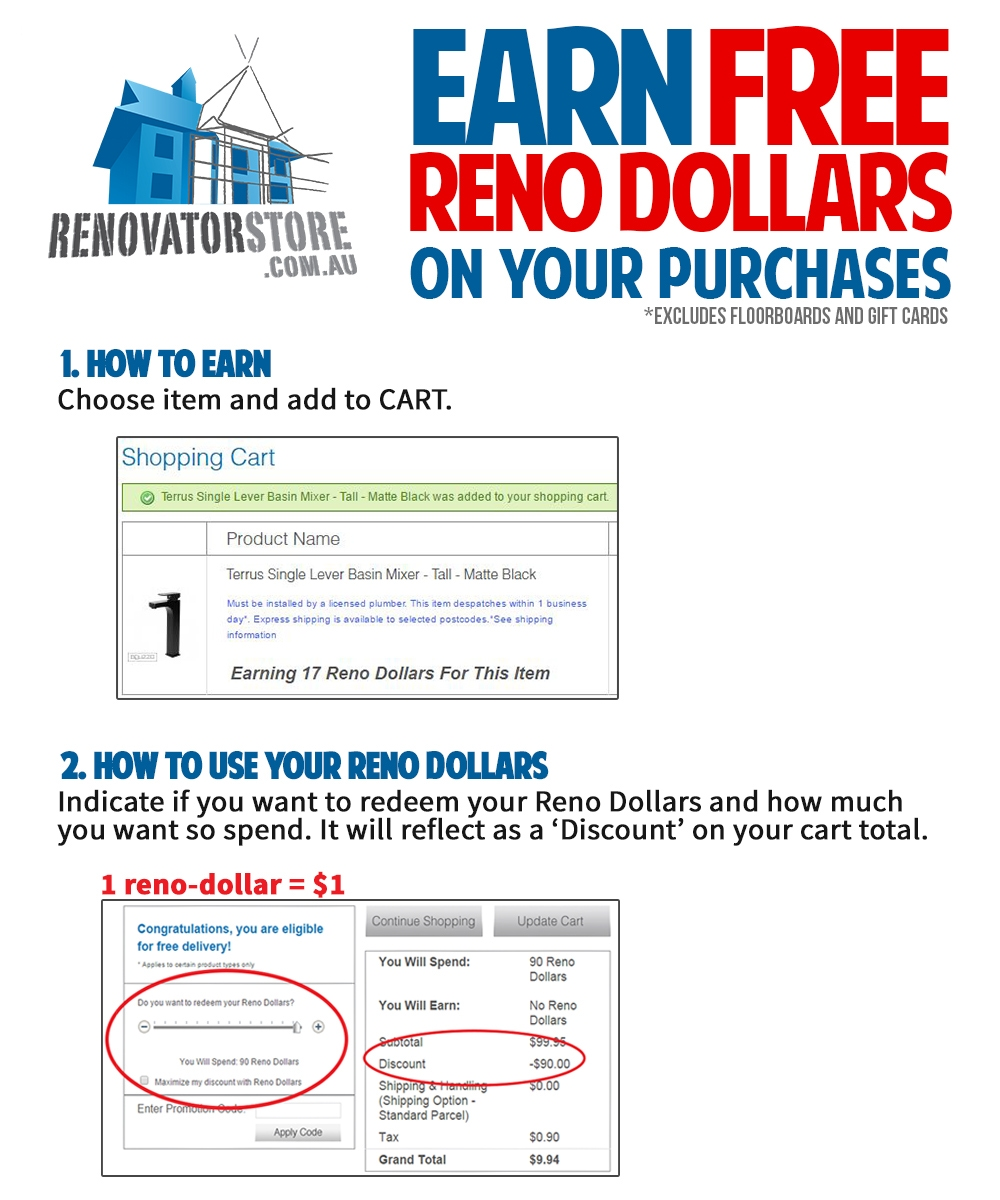 Earn FREE reno dollars on your purchases