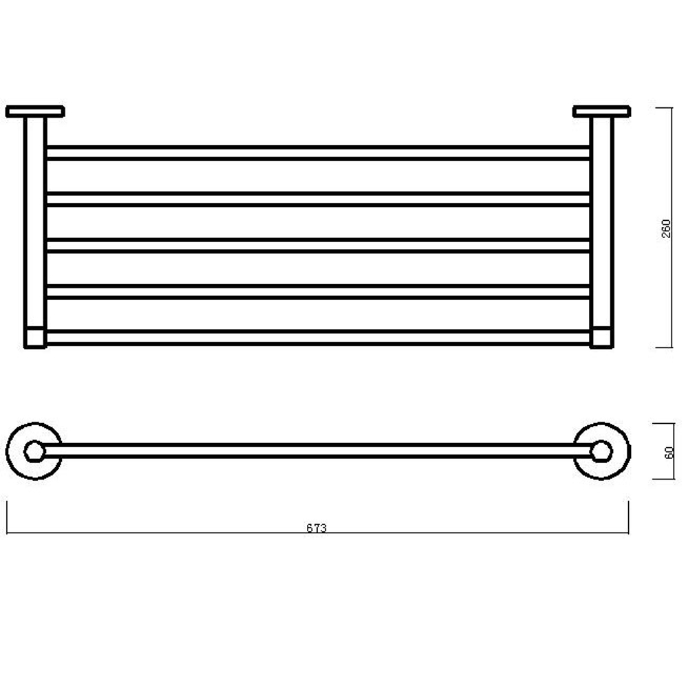 cosmo towel rail shelf dimensions