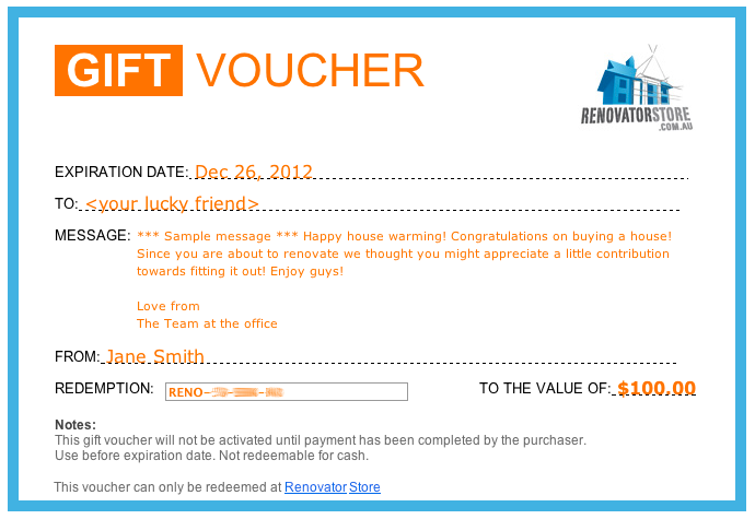 Gift eCard example emailed voucher